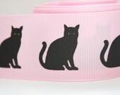 Black Cat Print Extra Wide 1.5in Pink Grosgrain Ribbon - 1 yd