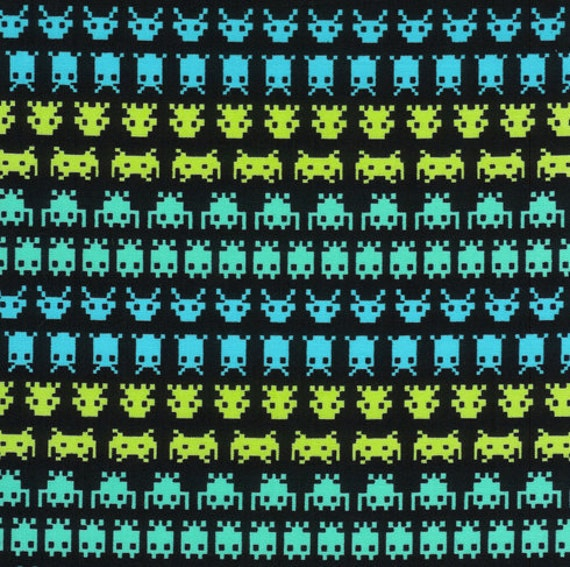 Timeless treasures space invaders smirk fabric by kyla may 1 for Space fabric panel