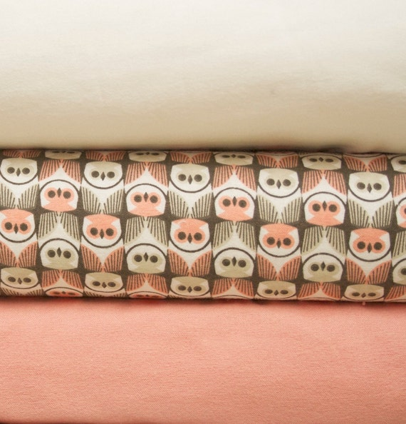 Cloud 9 Forest Friend G'Nite Owls Organic Cotton Flannel fabric, Fat Quarter Trio