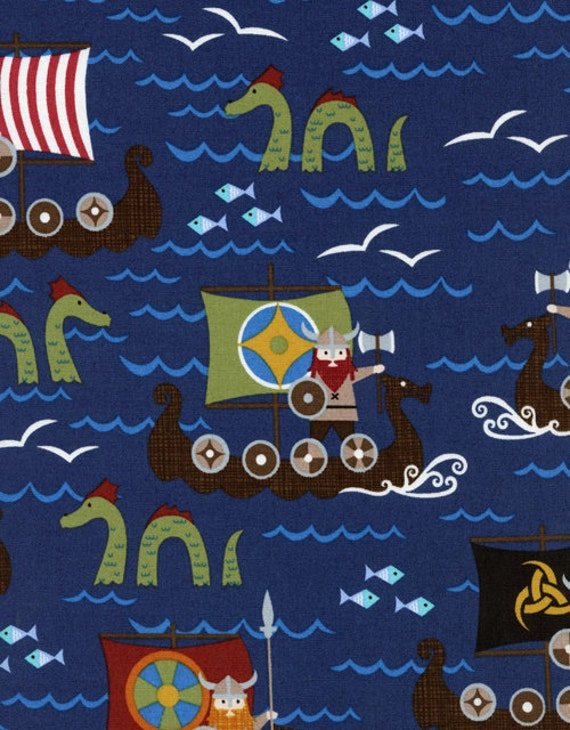 Timeless Treasures Vikings On Boats Organic Cotton Fabric, 1 yard