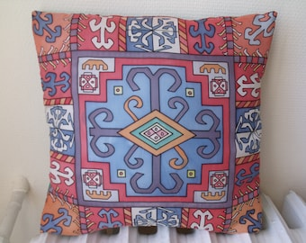 Beautifull hand-painted silk cushion, homade in France