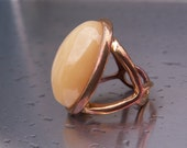 Vintage Ring Copper Modernist Large Yellow Stone Mother of Pearl