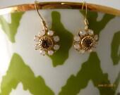 Rose and Opal Swarovski Crystal Flower Earrings