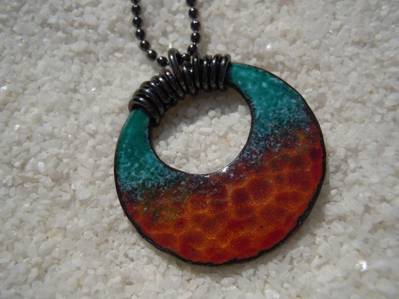 Enameled and Hammered Pendant
