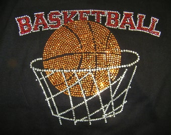 Custom Rhinestone Basketball with Net Bling Bedazzled Shirt