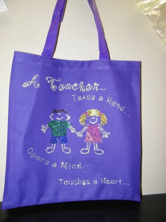 """Tote Bag - """"Bling"""" Teacher Custom Rhinestone Tote Bag"""