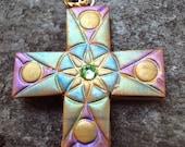 CELEBRATION Gold Purple and Green Cross Pendant