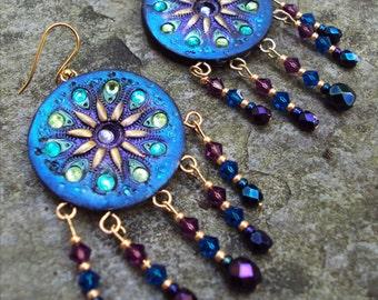 Large Chandelier Crystal Statement Gypsy Boho Earrings