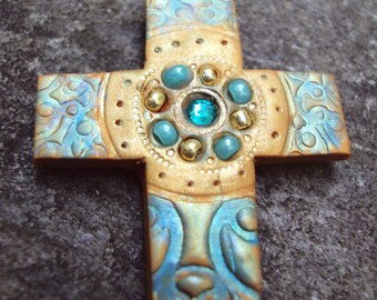 Handmade Celtic Sea and Sand Blue and Gold Cross Pendant