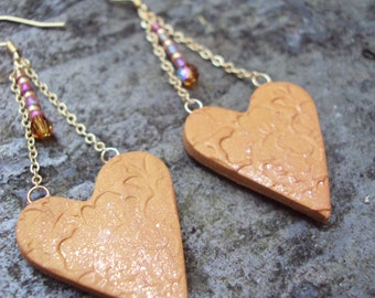 Gold and Copper Dangle Heart Earrings
