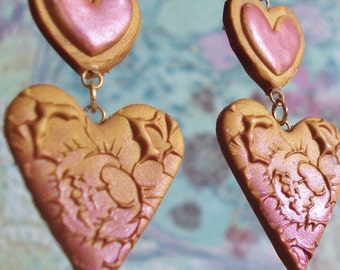 Gold and Red Double Heart Earrings
