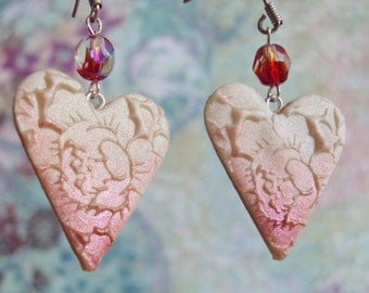 Loves First Blush Red tipped Heart Earrings