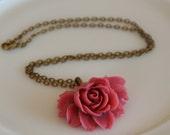 50% OFF SALE Blush Big Rose Necklace -- Antique Gold