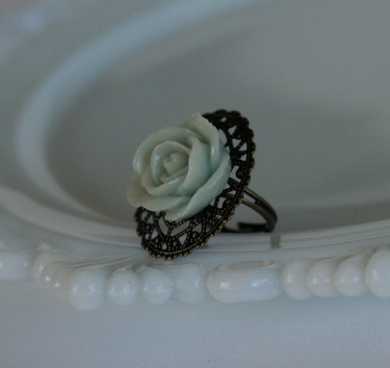 50% OFF SALE Soft Blue Open Rose Oval Filigree Ring -- Antique Brass