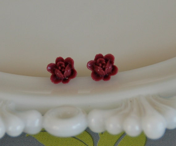 Wine Lotus Earrings