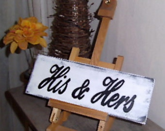 His and Hers Sign, Wedding Sign, Wedding Wood Sign, Wedding Gift