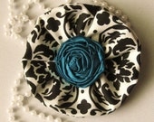 Black and White Damask Fabric Flower Hair Clip or Brooch Pin with Teal Blue Rosette Center