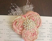 OOAK - Ivory and Light Pink Floral Pattern Rosette Trio Hair Clip or Brooch Pin Corsage -Netting and Pearl Accent -Vintage Inspired