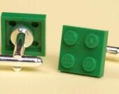 LEGO 2x2 green plate cufflinks