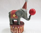 Circus Elephant on Striped Trinket Box