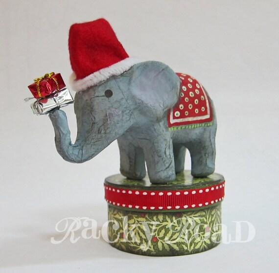Jolly Christmas Elephant with Santa Hat on Trinket Box