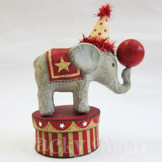 Circus Elephant on Striped Trinket Box (Light Grey)