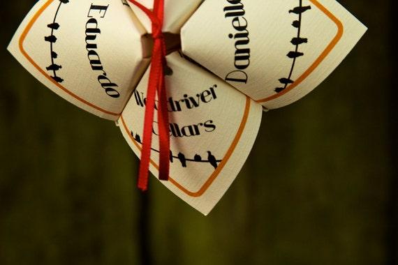 Love Bird Inspired Cootie Catcher Wedding Programs