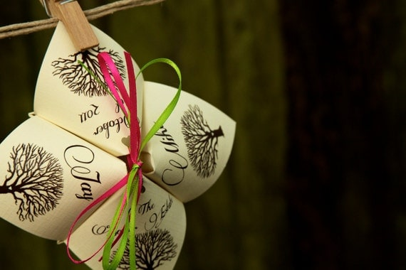 Rustic Tree Inspired Cootie Catcher Wedding Programs