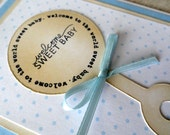 Welcome Baby Boy Card - Welcome Sweet Baby - Blue (FREE SHIPPING within the US)