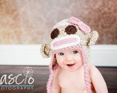 Sock Monkey Hat in Pink Available in all sizes, Newborn to Adult