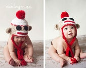 Crochet Sock Monkey Hat, Newborn, Baby and Infant Sizes