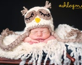 Crochet Sleepy Owl Hat in Cream & Tan, Newborn, Baby and Infant Sizes