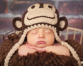 Crochet Monkey Hat, Baby and Infant Sizes