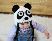 Crochet Panda Hat for all sizes, newborn to adult