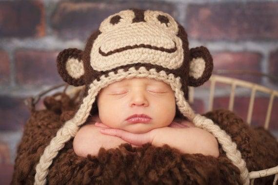 Free Knitting Pattern For Baby Monkey Hat : Items similar to Crochet Monkey Hat, Newborn, Baby and ...