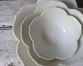 White Porcelain Lotus Bowls. Flower Nesting Set with Plate