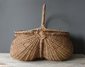 Extra Large Antique Egg Basket with Lid.  Hand Woven
