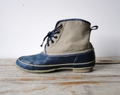 Blue and Gray Insulated Rain / Snow Boots. Size 9