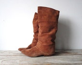 Soft Suede Rust Slouch Boots.  Size 7
