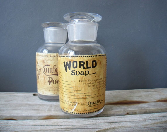 Vintage Apothecary Bottle.  World Soap