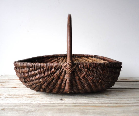 r e s e r v e d Handwoven Basket with Bent Wood Handle