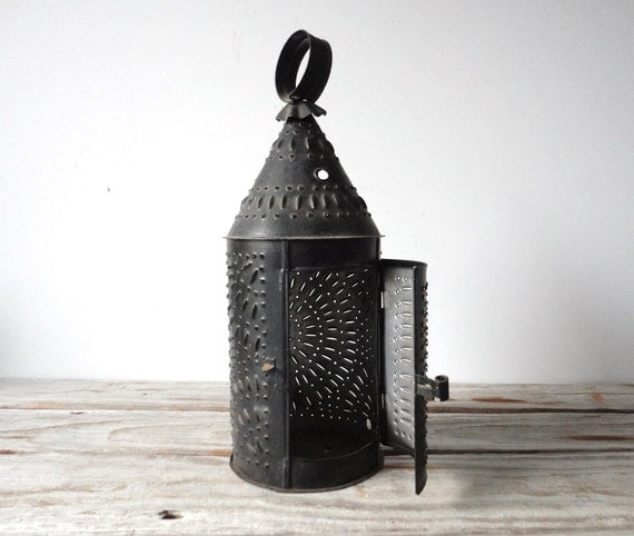 Galvanized Hanging Lantern. Punched Out Metal.