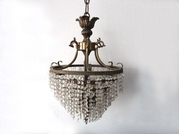 Large Antique Crystal & Gold Chandelier