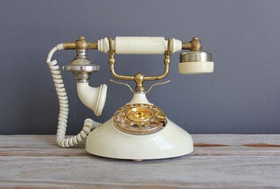 Cream French Rotary Princess Phone