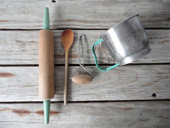 Aqua Farmhouse Baking Kitchen Set