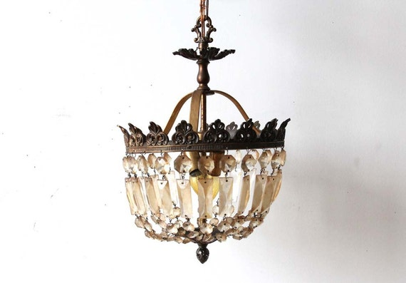 r e s e r  v e d Antique French Crystal & Bronze Chandelier