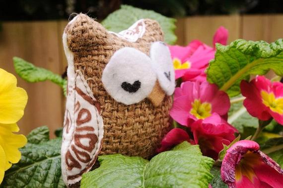 Tiny, Eco Friendly Stuffed Owl
