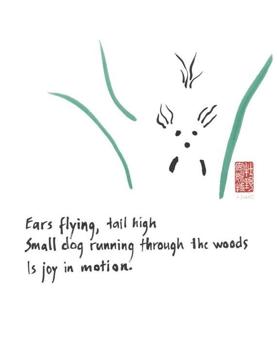 02-103. joyful running dog - 11x14 print