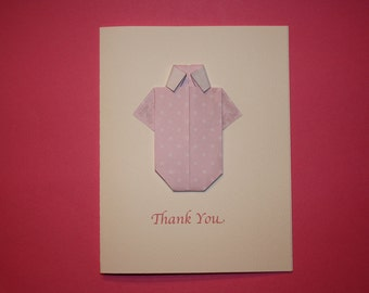 Origami Onesie Thank You Cards With Envelopes - Set of 12
