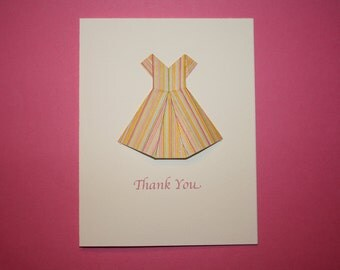 Origami Party Dress Thank You Cards With Envelopes